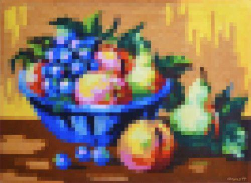 Still Life Bowl of Fruit Pixelated